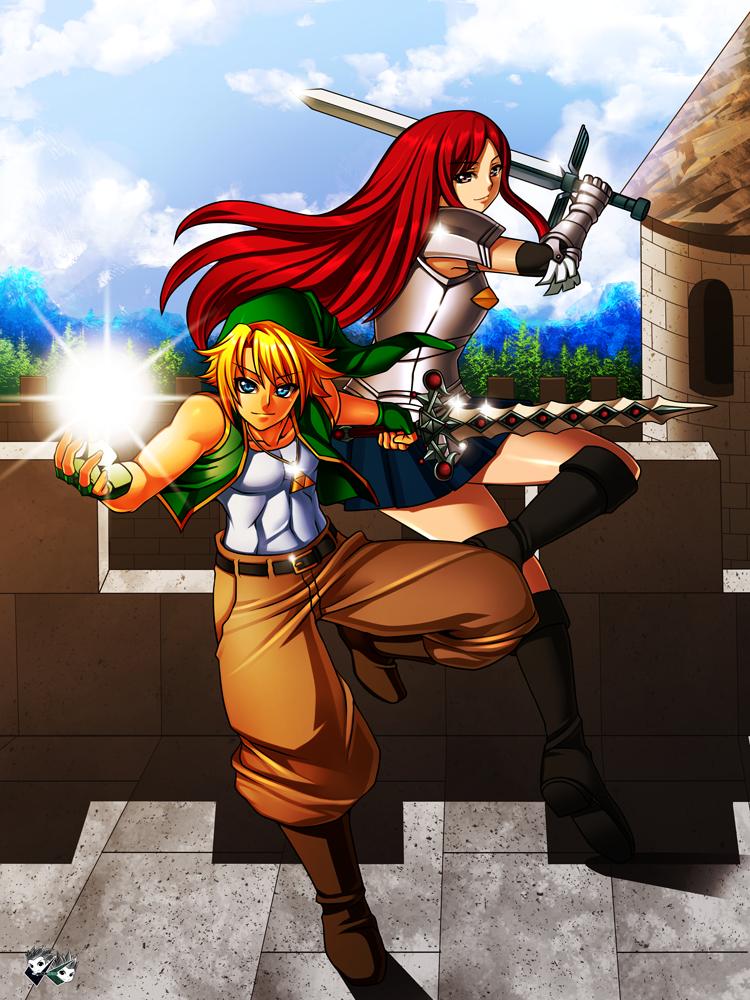 COMMISSION : Link X Erza by jadenkaiba
