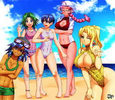 COMMISSION: Toshinden Girls Beach Time by jadenkaiba