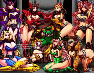 COMMISSION:  Queens Blade X Kamen Rider OOO by jadenkaiba