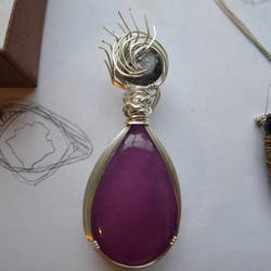 Purple Agate and Black Tourmaline Pendant