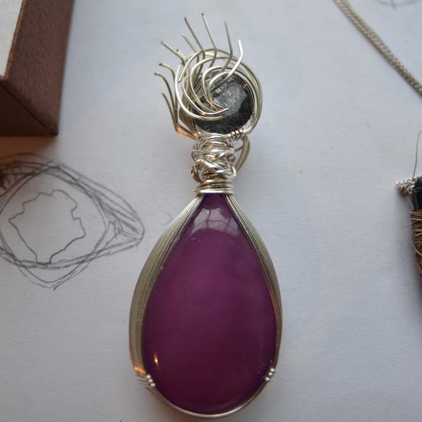 Purple Agate and Black Tourmaline Pendant by StuffyMcbPb