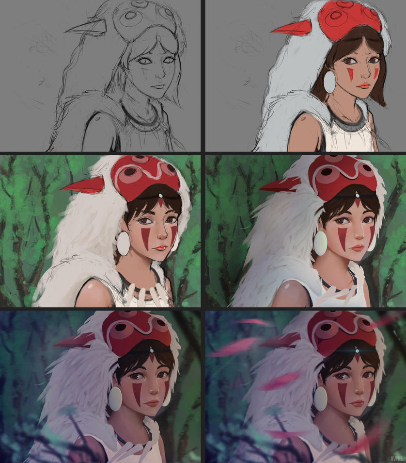 Princess Mononoke Process by Avnil