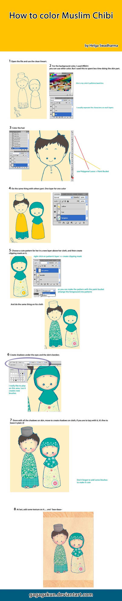 how to color Muslim Chibi