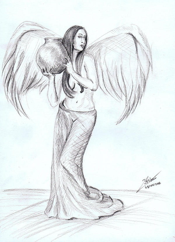 Sketch Angel With Vase By Andreth On DeviantArt
