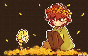 Chara and Flowey by Doppio24