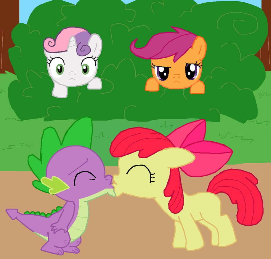 spike and apple bloom kiss by fluttershy626 on deviantart