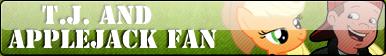 T.J. and Applejack fan button by Fluttershy626