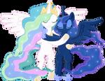 Princess Celestia and Princess Luna Hug -Collab