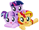 Three happy fillies