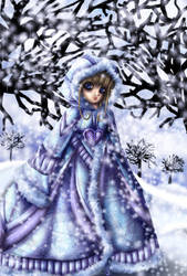 Ice Maiden in Snow by PinkFireFly
