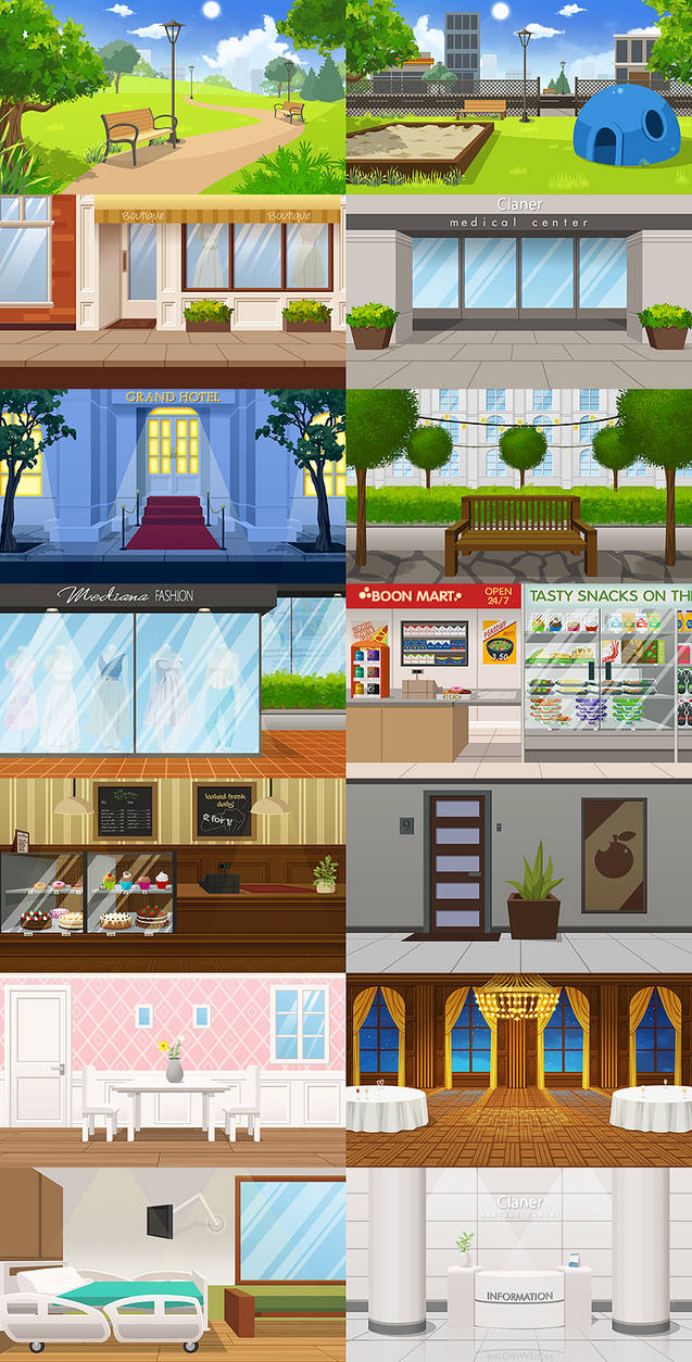 Selection of visual novel backgrounds