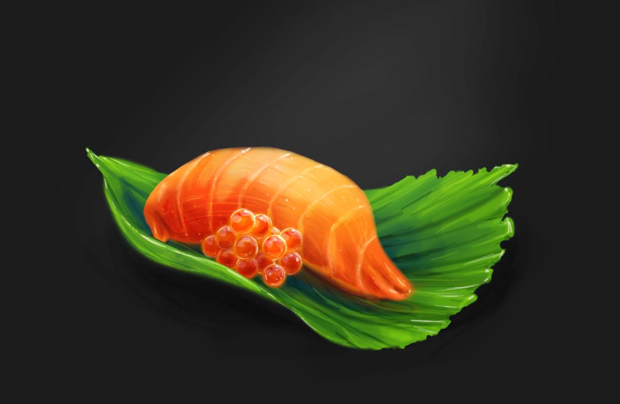 Speedpainting sushi by PinkFireFly