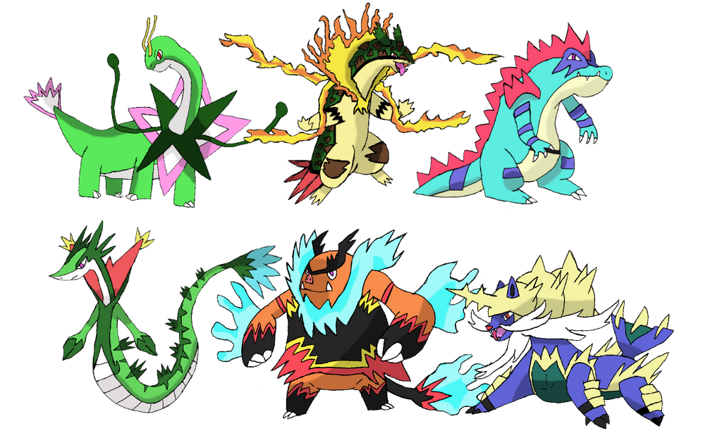 Johto/Unova Starter Megas by TheNemetrix on DeviantArt