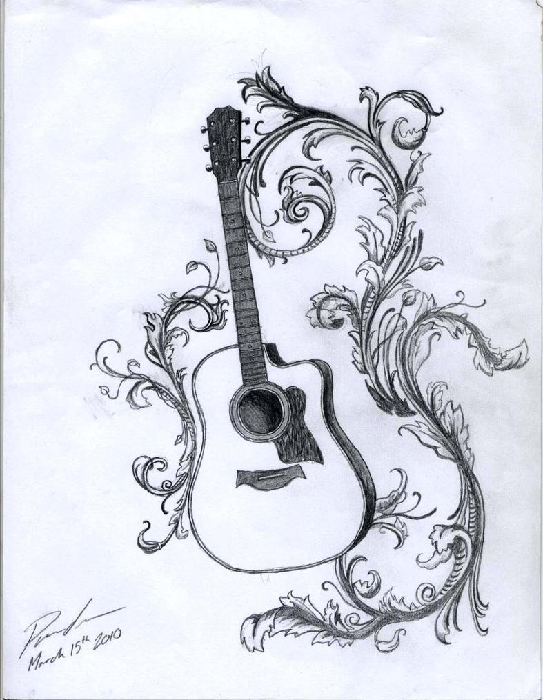 Acoustic with Filigree by KrisTheSithAcoustic Guitar Drawing Tattoo