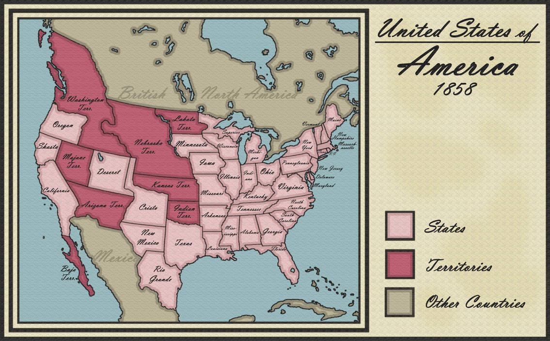 Map Of Arizona 1858.Rio Grande Statehood 1858 By Latexiana On Deviantart