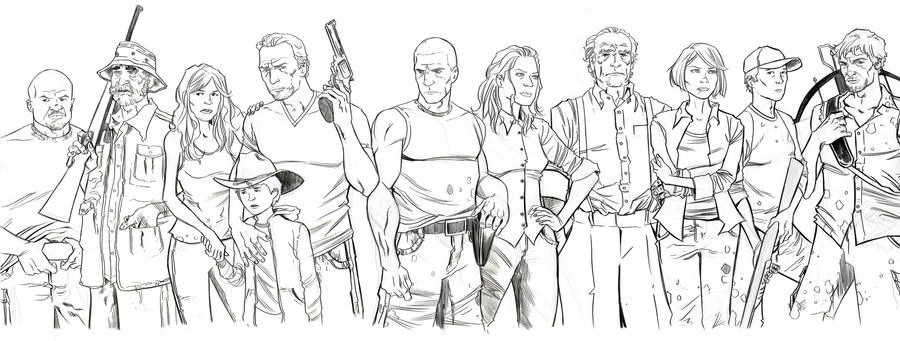 Walking dead tv cast alive by kyleiam on deviantart for The walking dead coloring pages