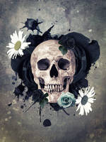 Skull And Flowers by JackieCrossley