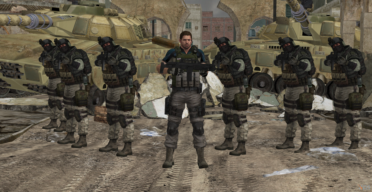 Chris Redfield and his BSAA team by Hatredboy