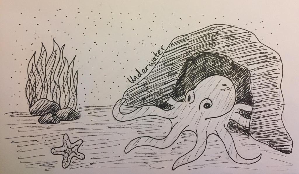 Inktober Day 4: Underwater by Panolli