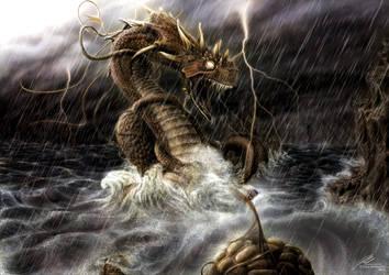 Joermungandr (the Midgard Serpent) by RandomMumble