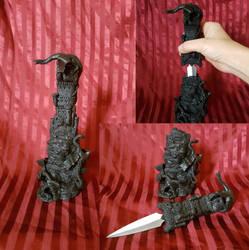 -FOR SALE- ooak Dragon Castle Statue Hidden Knife by RandomMumble