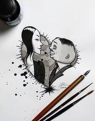 Gomez and Morticia Addams - DailySketch by RandomMumble