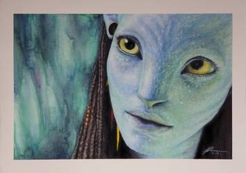 'Neytiri - Avatar' Watercolor/Colored Pencils by RandomMumble