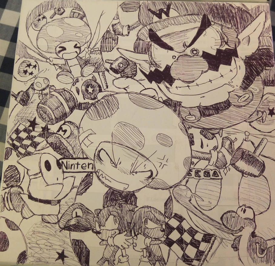 Two siblings draw video game-related stuff