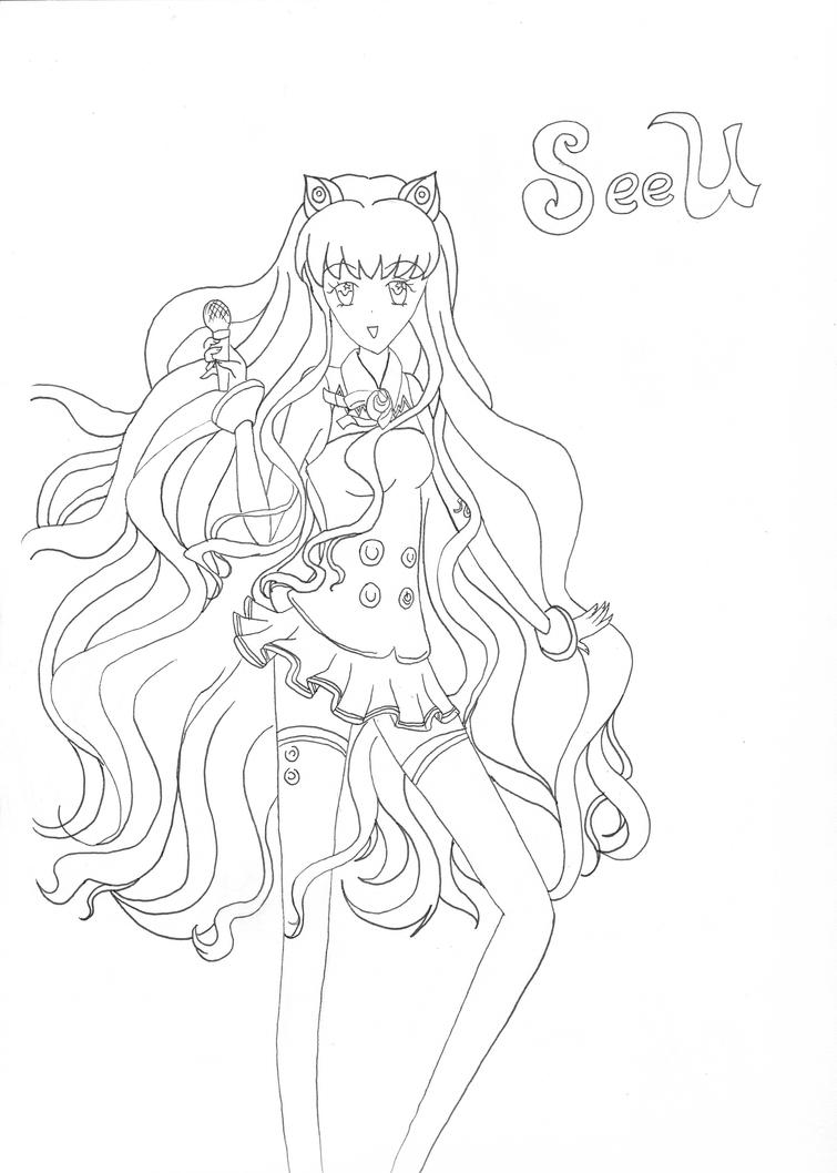 Line Art Coloring Pages : Vocaloid seeu line art coloring page by neosailorcrystal