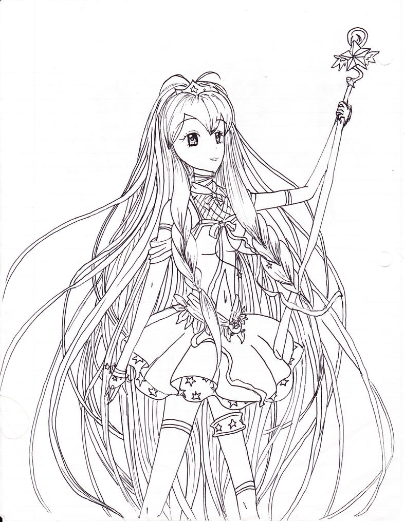 Line Art Coloring Pages : Star princess line art coloring page by neosailorcrystal