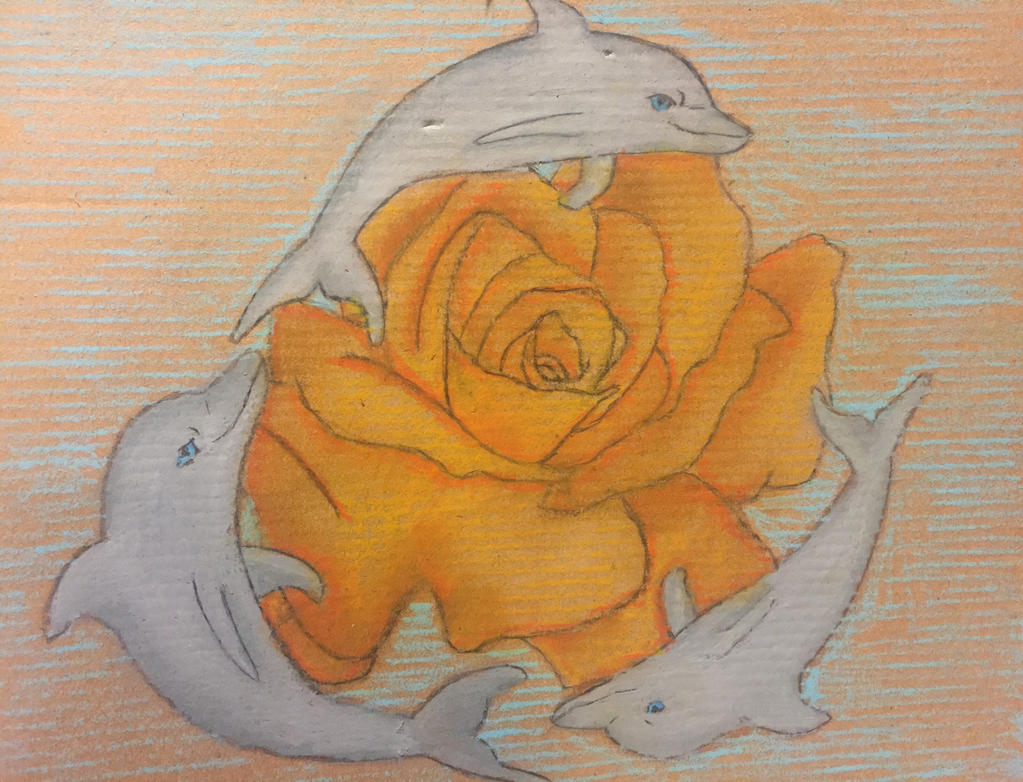 Dolphins with rose by ShadowNekoRose