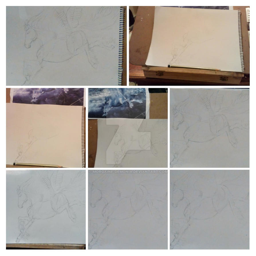 Pegasus step by step collage by Morgaine-Demonia