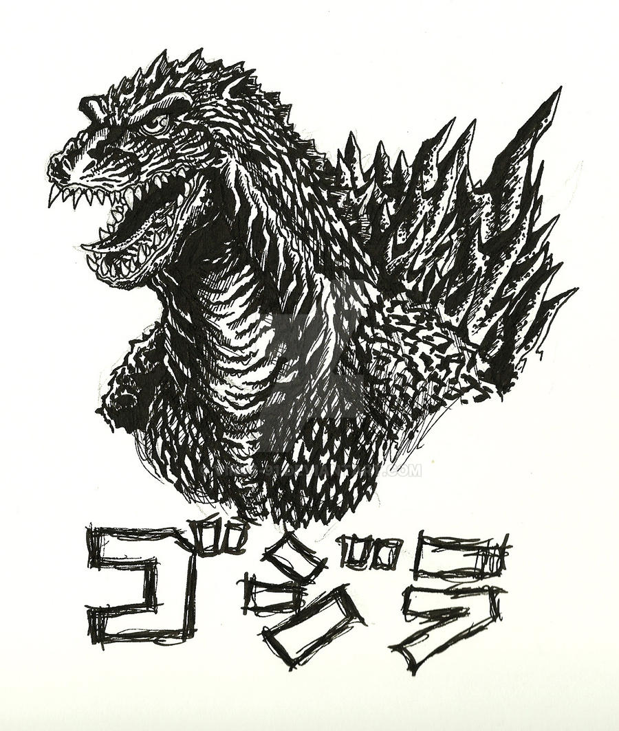 Godzilla 2000 Ink Drawing