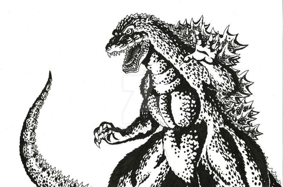 Inked Godzilla by Virus-91