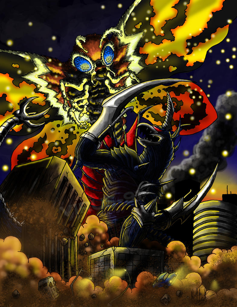 Gigan vs. Mothra by Virus-91