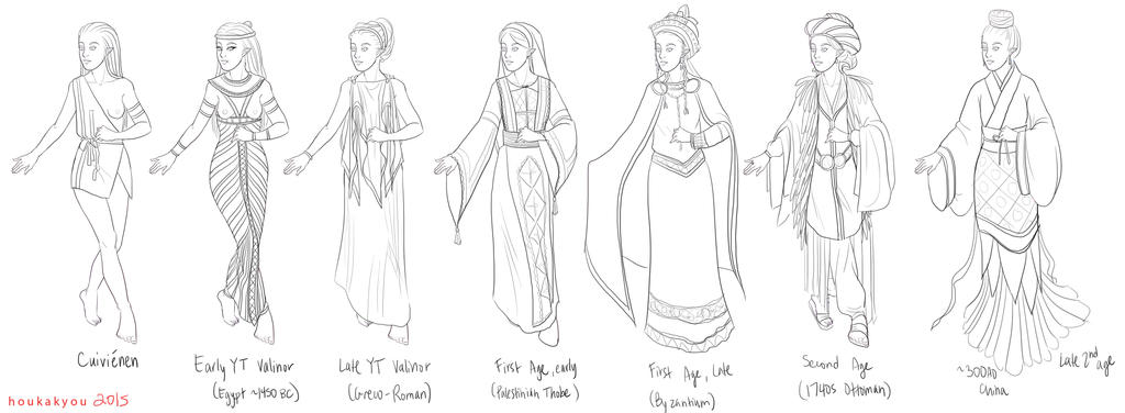 elven clothing chronology by welcometolotr