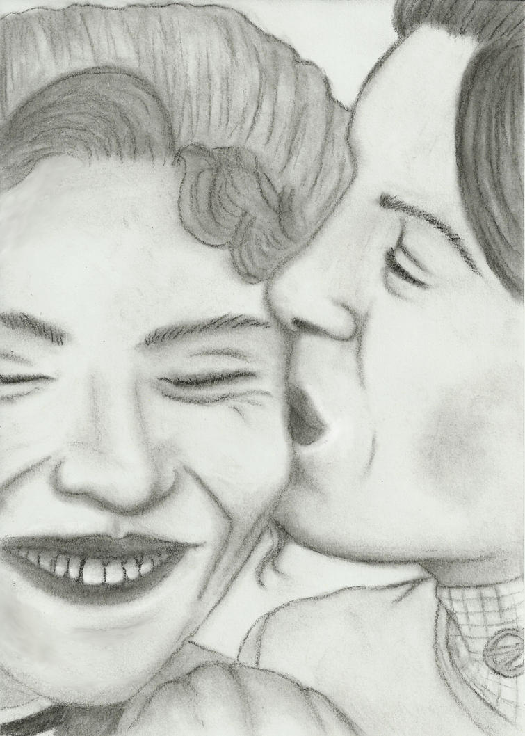 A kiss in charcoal by Kwilia