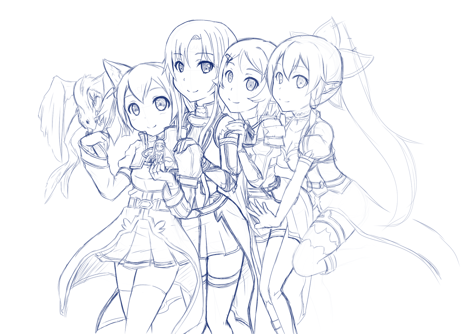 Line Art Group : Sword art online wip by candy arts on deviantart