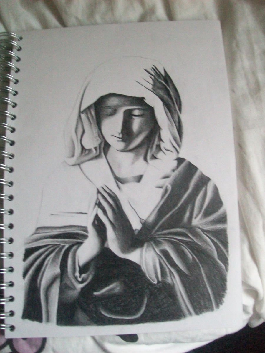 Line Drawing Virgin Mary : Virgin mary by wertiod on deviantart