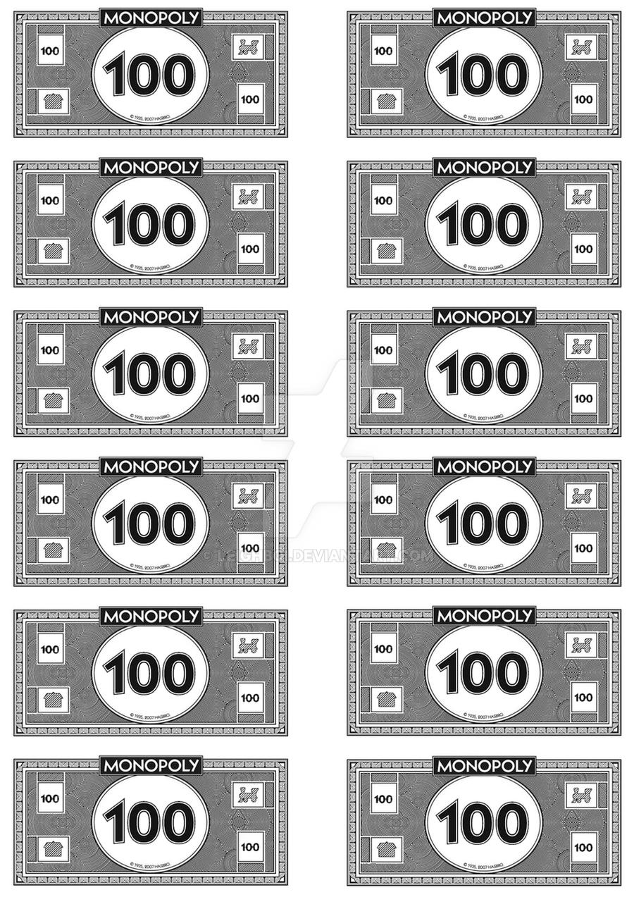 Monopoly money 100 39 s by leighboi on deviantart for Monopoly money templates
