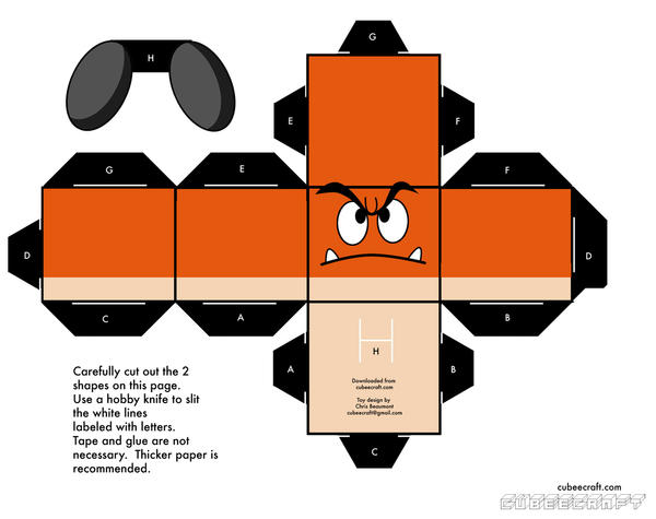 Goomba Papercraft Template By Austinmeadows On Deviantart