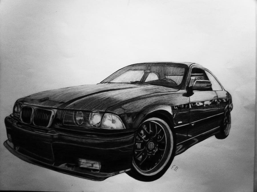 Bmw car pencil drawing by edgarsart