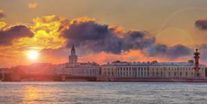 autumn sunset at the Neva