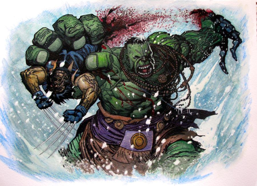 Hulk vs Wolverine by TheFranology