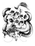 Dragon and skulls