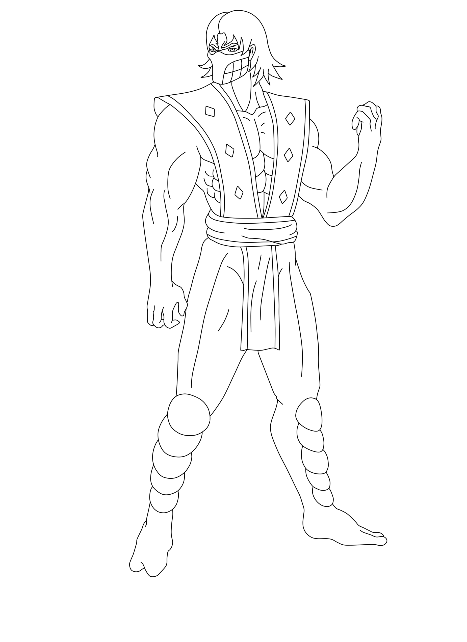 Line Art Human : Mortal kombat smoke coloring pages
