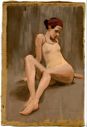 Reclining Figure Study, Oil on Cardboard by gregesmith