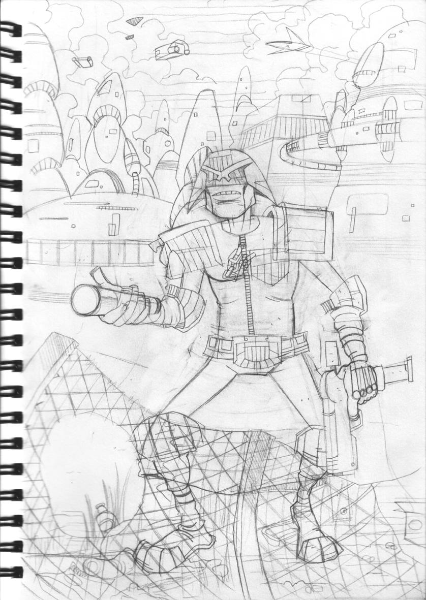 Dredd sketch by TomBerryArtist