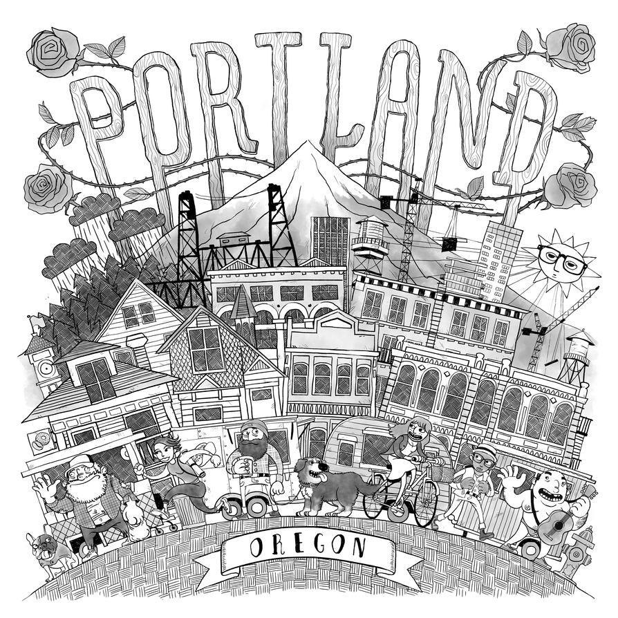 Portland Print - Black and White by TomBerryArtist
