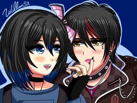 DDLC: Goth Sayori and Goth MC (Fanart)